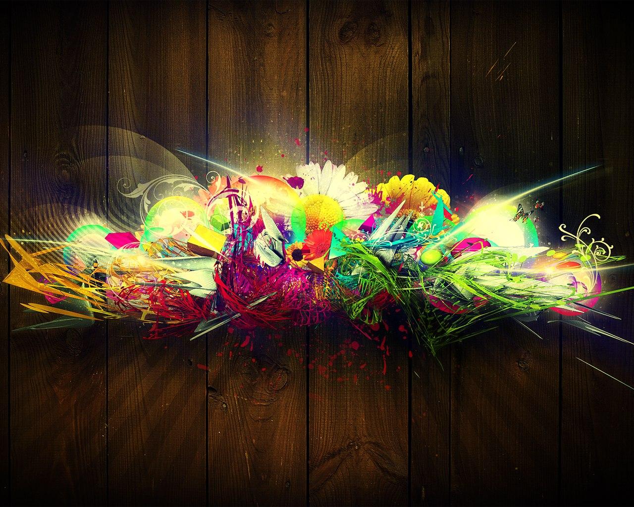 Flower Graffiti Abstract Wallpaper 14788 Wallpaper High 1280x1024