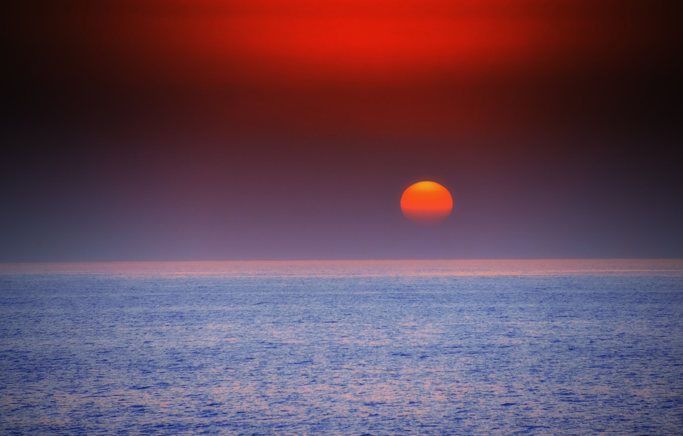 Wallpaper fireball twilight sea ocean sunset seascape sun 1332x850