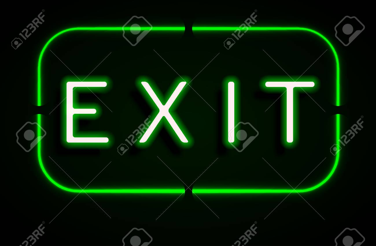 Neon Banner On Text Exit Background Royalty Cliparts Vectors 1300x852