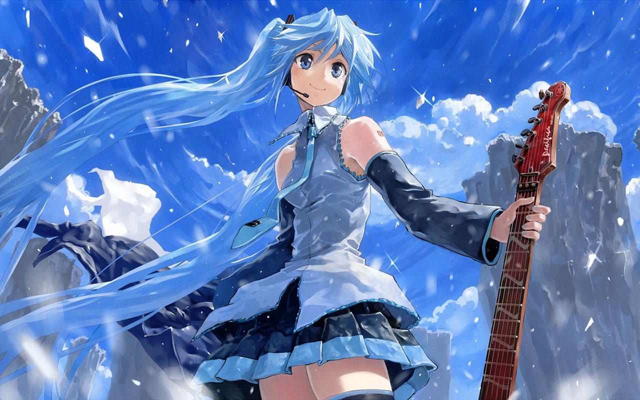 Cute Anime Guitar Wallpaper Desktop 14744 Wallpaper Wallpaper 1280x800