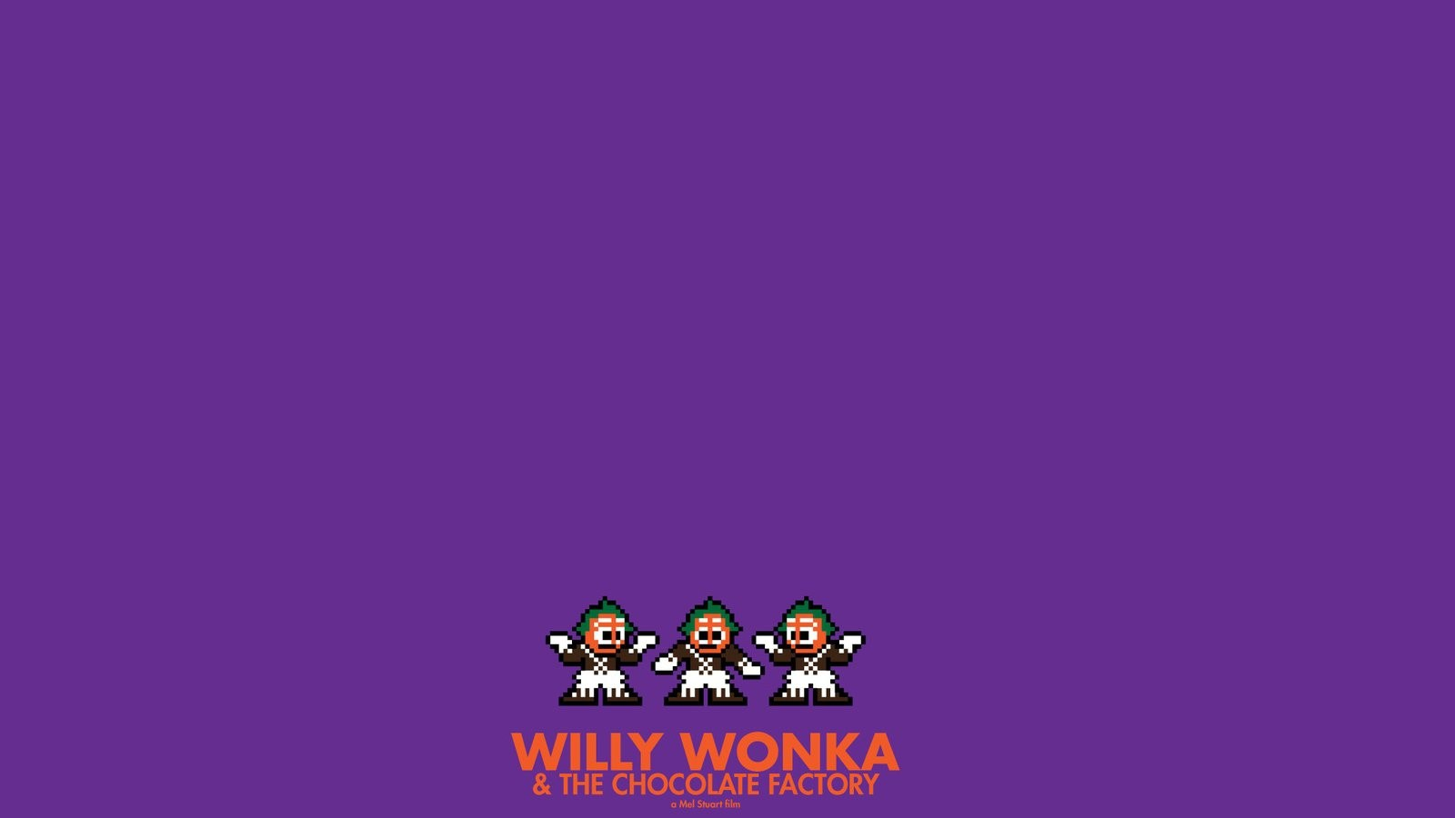 posters Willy Wonka chocolate factory 8 bit wallpaper background 1600x900