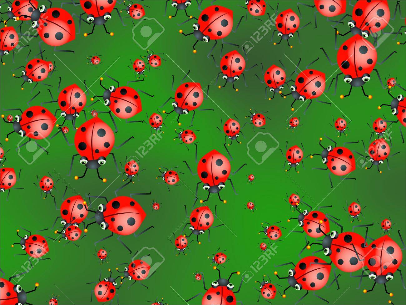Cute Cartoon Red Ladybug Wallpaper Background Design Stock Photo 1300x975