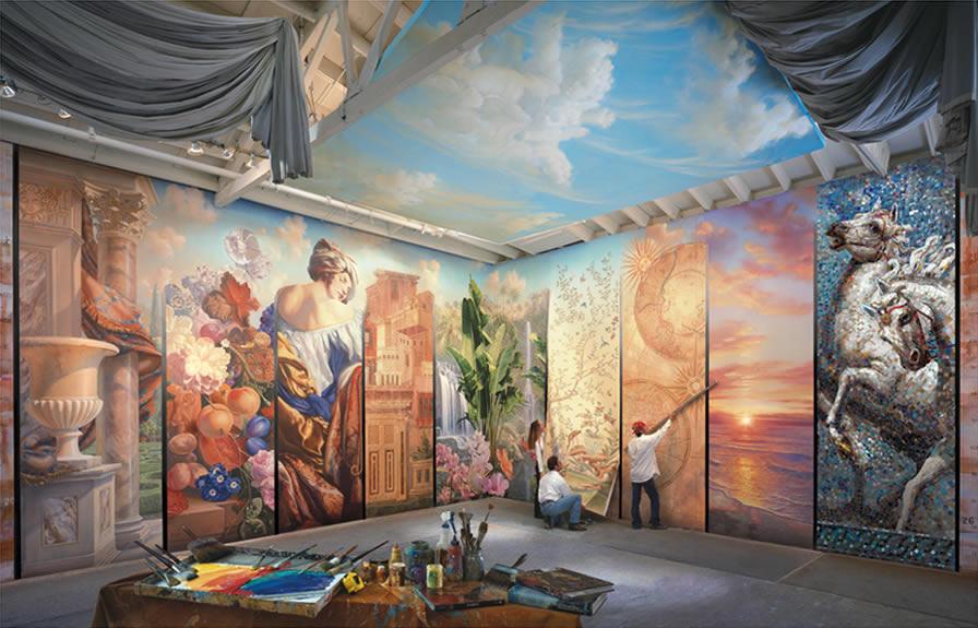 Ceiling wallcovering handpainted Mural painter Mural artist 896x575
