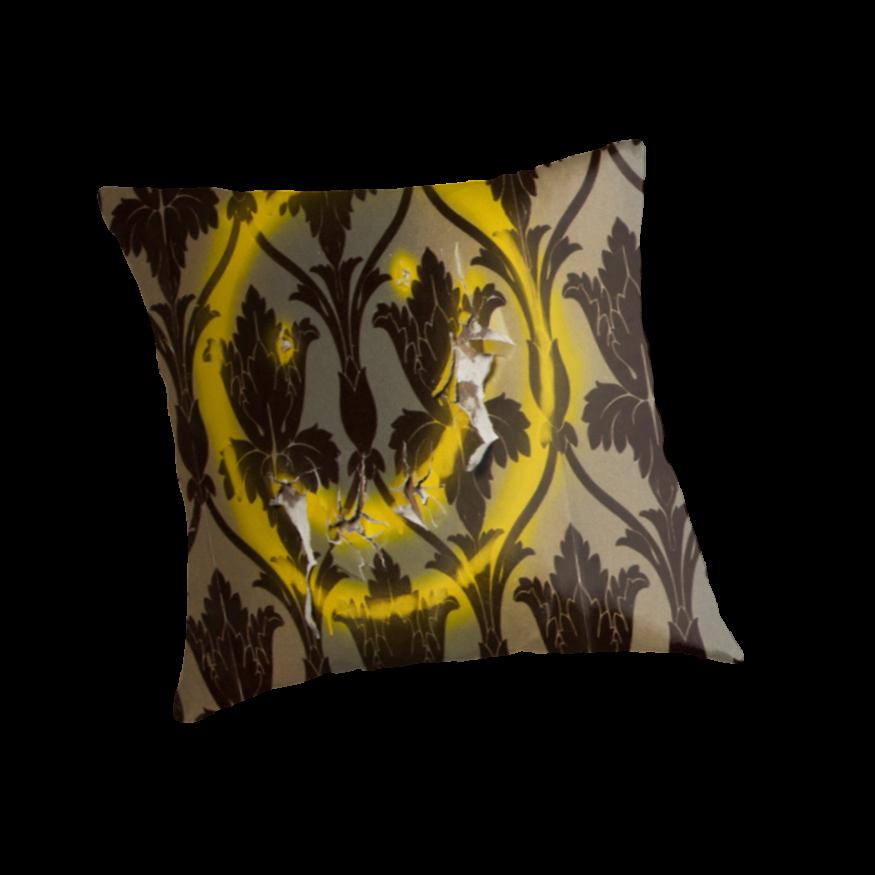 Sherlock Smiley Face Damask Wallpaper Throw Pillows by SaraduJour 875x875