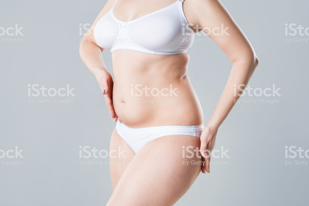 Woman With Fat Flabby Belly Overweight Female Body On Gray 1024x683