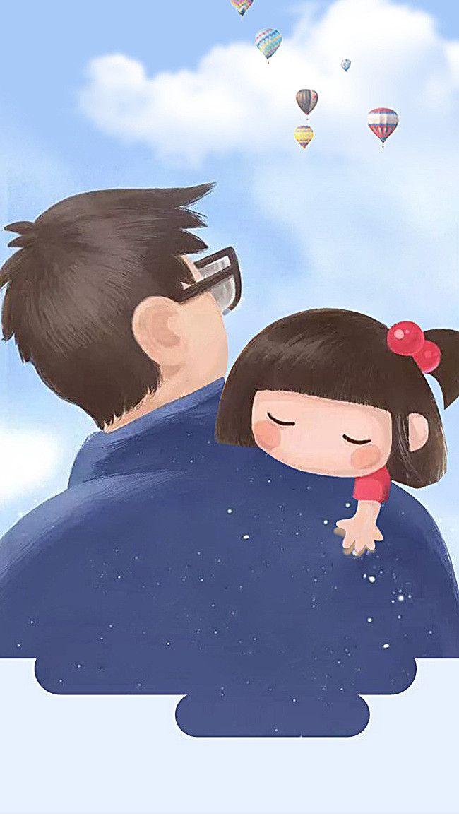 Fathers Day Cartoon Comics H5 Background Cute kawaii drawings 650x1155