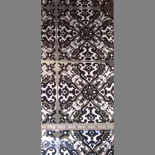 1930s Spanish Tile   Black Silver on Silver [Wflo 3096] Designer 500x500