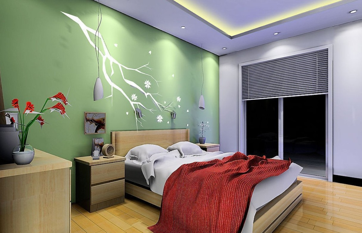 Green background wall bedroom 3D house 3D house pictures and 1215x784