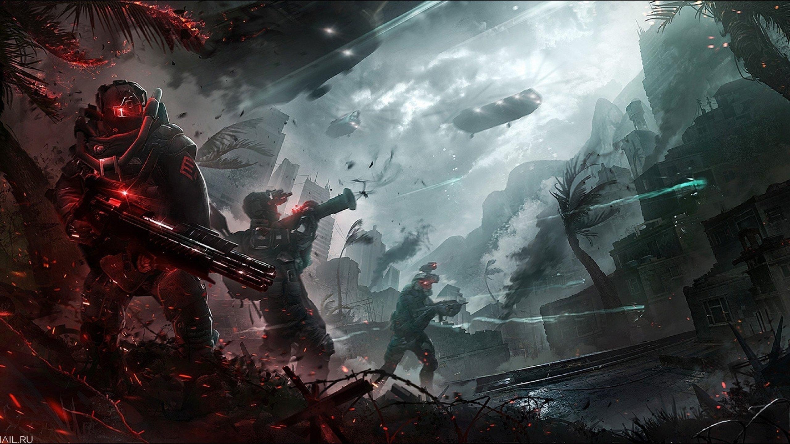 fighting war art artwork warrior futuristic spaceship space wallpaper 2560x1440