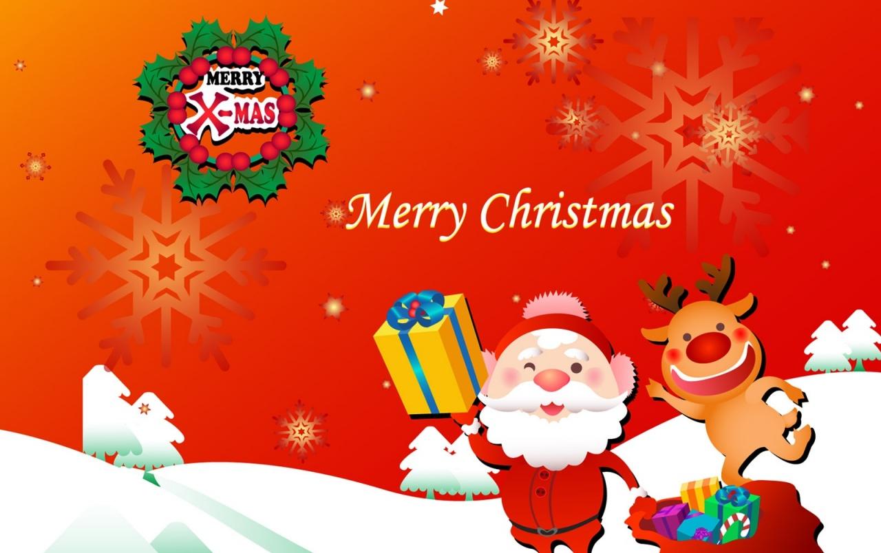 Santa and Rudolf Merry Christmas wallpapers Santa and Rudolf Merry 1280x804
