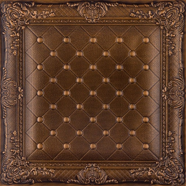 DCT LRT03 Faux Leather Ceiling Tile   Vintage Gold   Ceiling Tile   by 640x640
