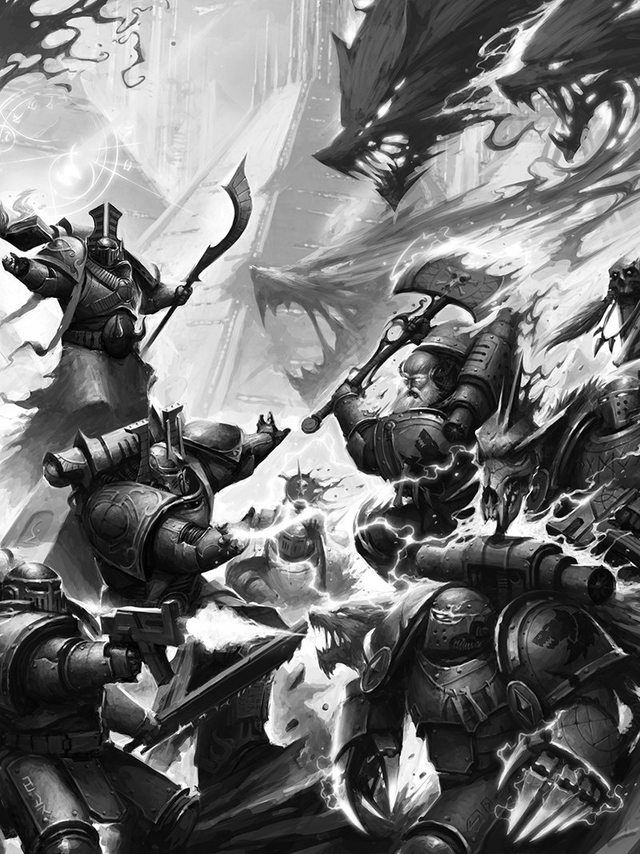 40k 30k Imperial Wallpapers   Warhammer 40k Space Wolves Vs 640x854