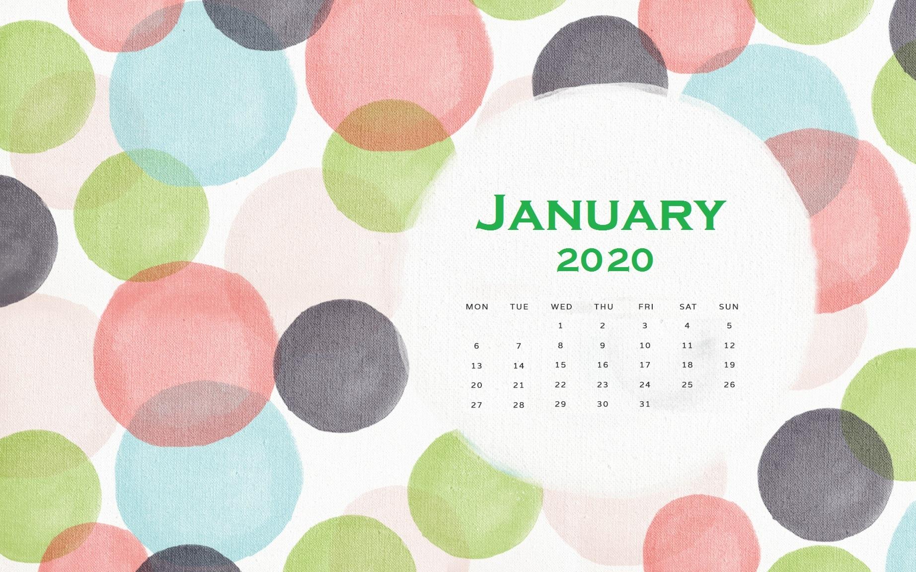 January 2020 Background Screensaver Latest Calendar 1844x1152
