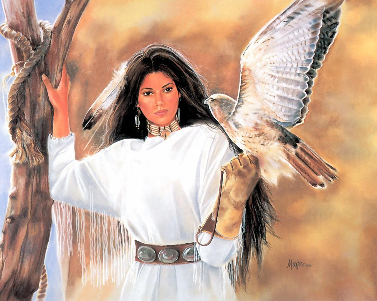 Native American Woman Holding Falcon Computer Wallpapers 1280x1024