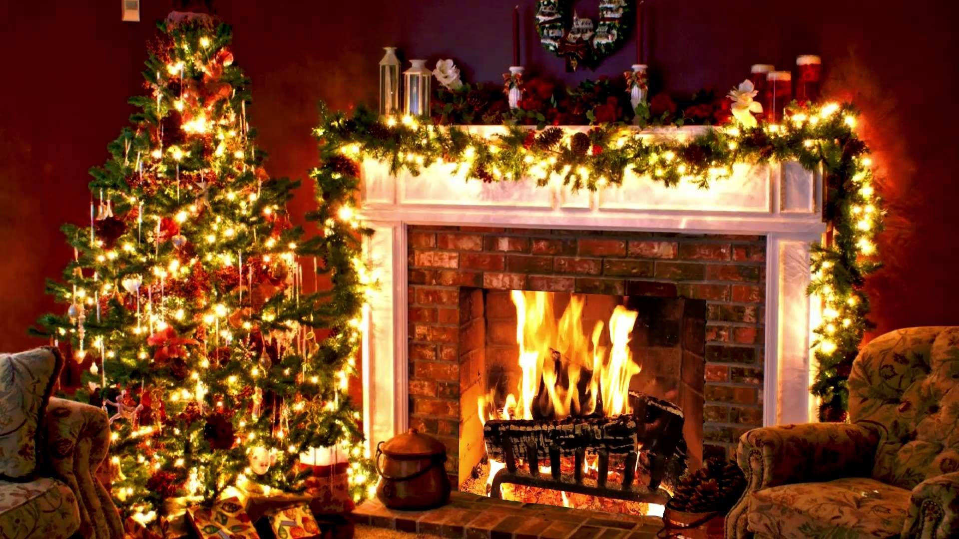 Download Christmas Tree And Fireplace Background High quality 1920x1080