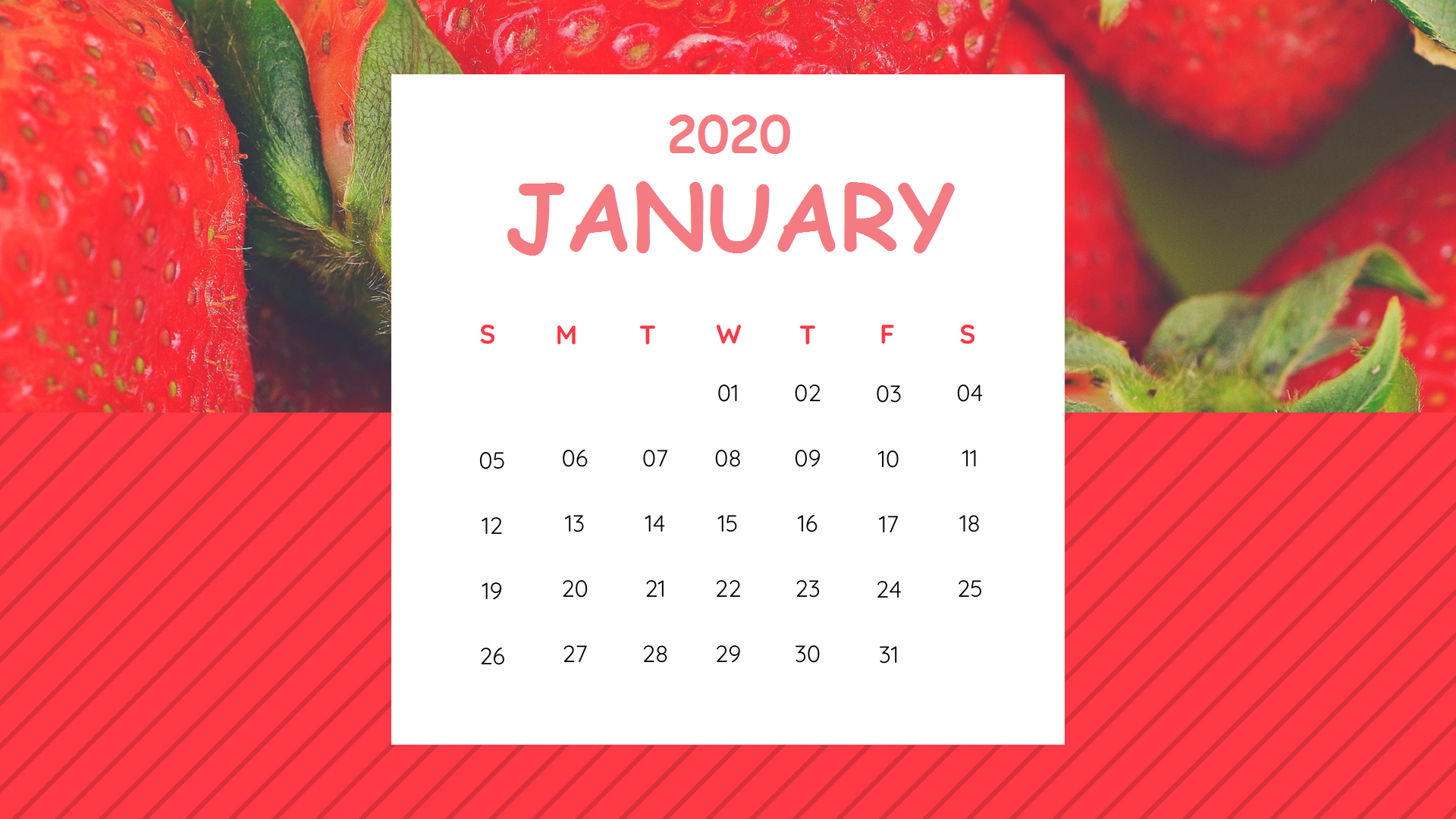 Print January 2020 Desk Calendar Latest Calendar 1920x1080