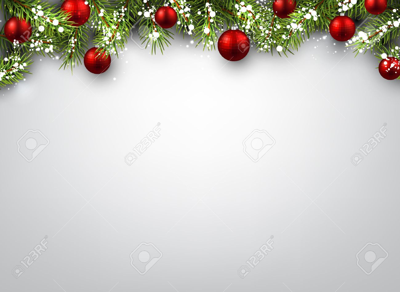 Christmas Background With Fir Branches And Red Balls Royalty 1300x950