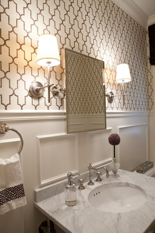 Wallpaper wall paper bathroom graphic Moroccan tile modern 500x750