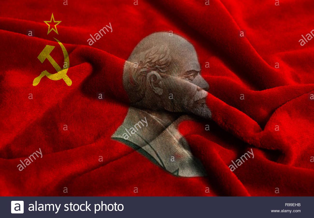 Flag of the Soviet Union with portraits of Vladimir Lenin 1300x902