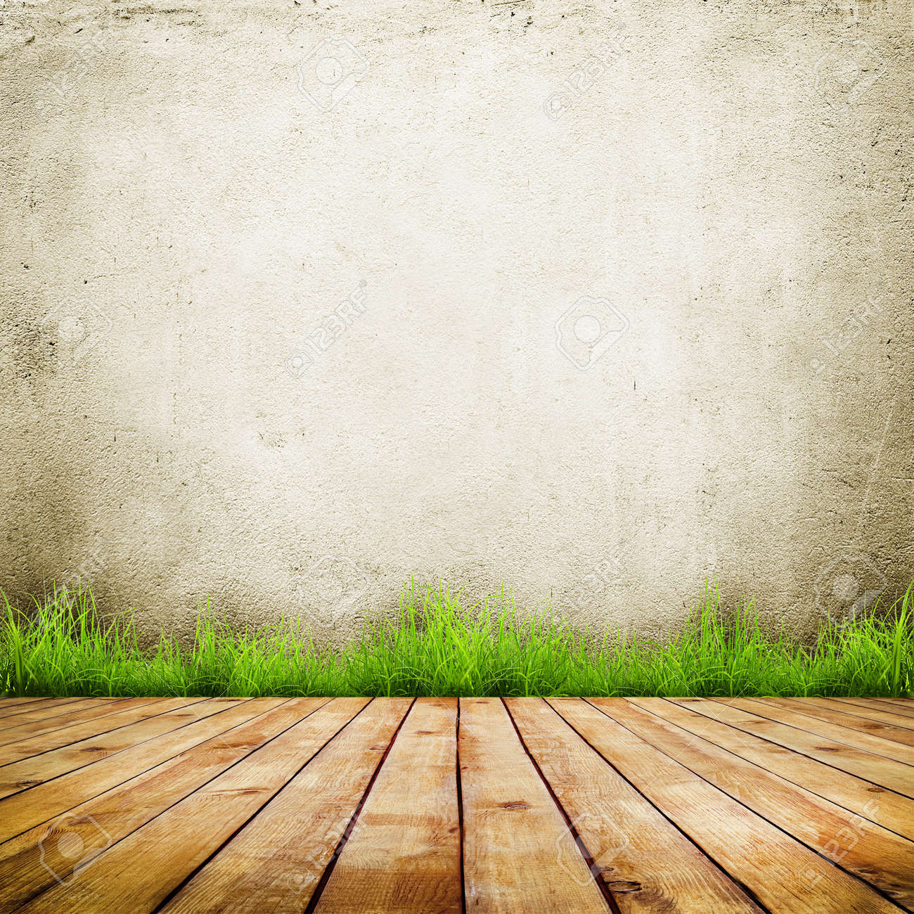 Old Wall And Green Grass On Wood Floor Background Stock Photo 1300x1300