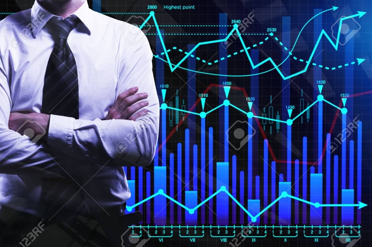 Businessman With Folded Arms On Abstract Forex Background Finance 1300x866