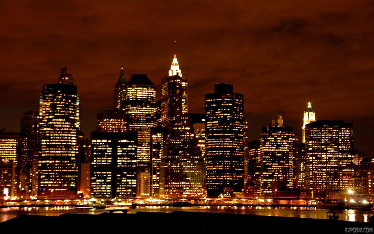 New York City Skyline At Night Wallpaper Thumb 1280x800