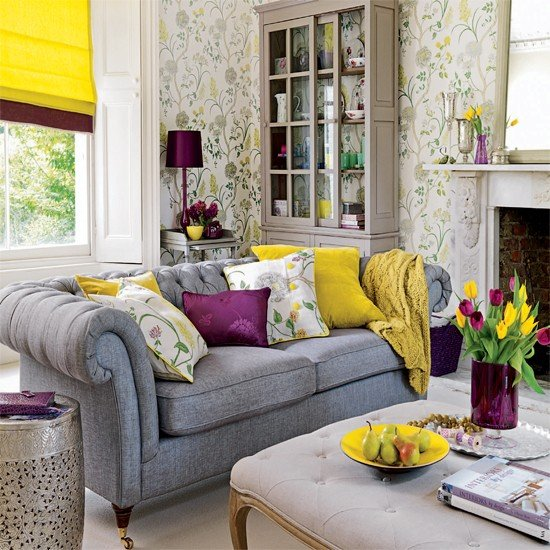 Living room wallpaper with yellow accents Wallpaper ideas for 550x550