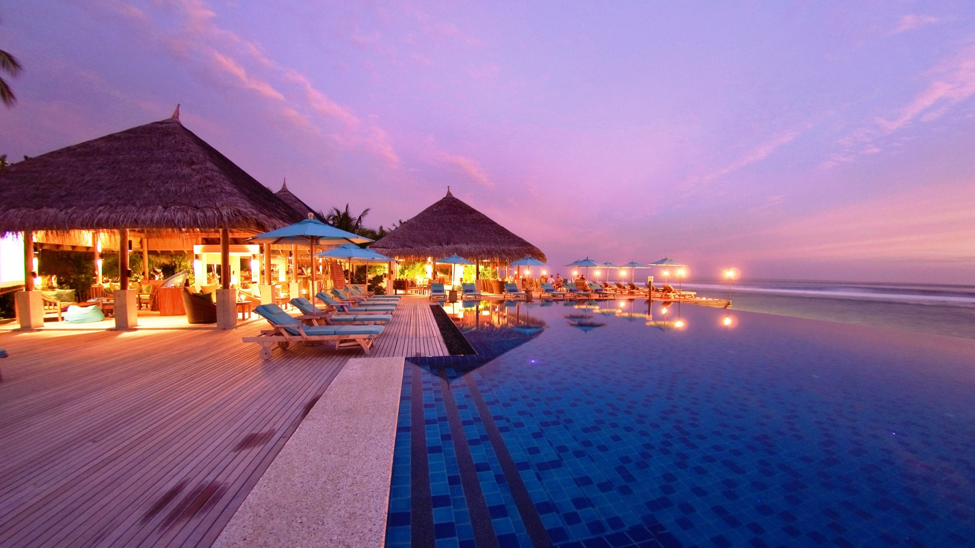 Tropical Beach Resort Evening Wallpaper Background Full HD 1080p 1920x1080