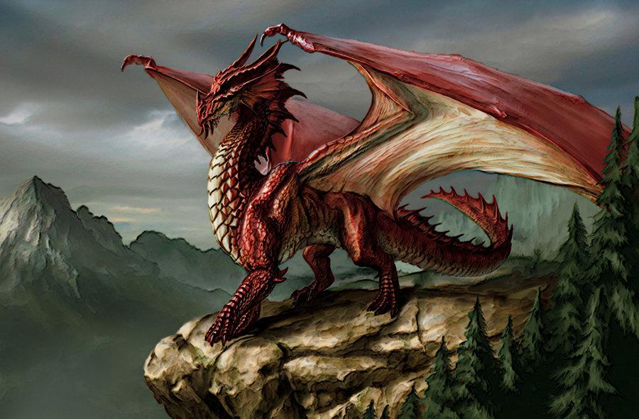 Desktop Wallpaper Acrylic Red Dragon by LordHighWarlock 900x591