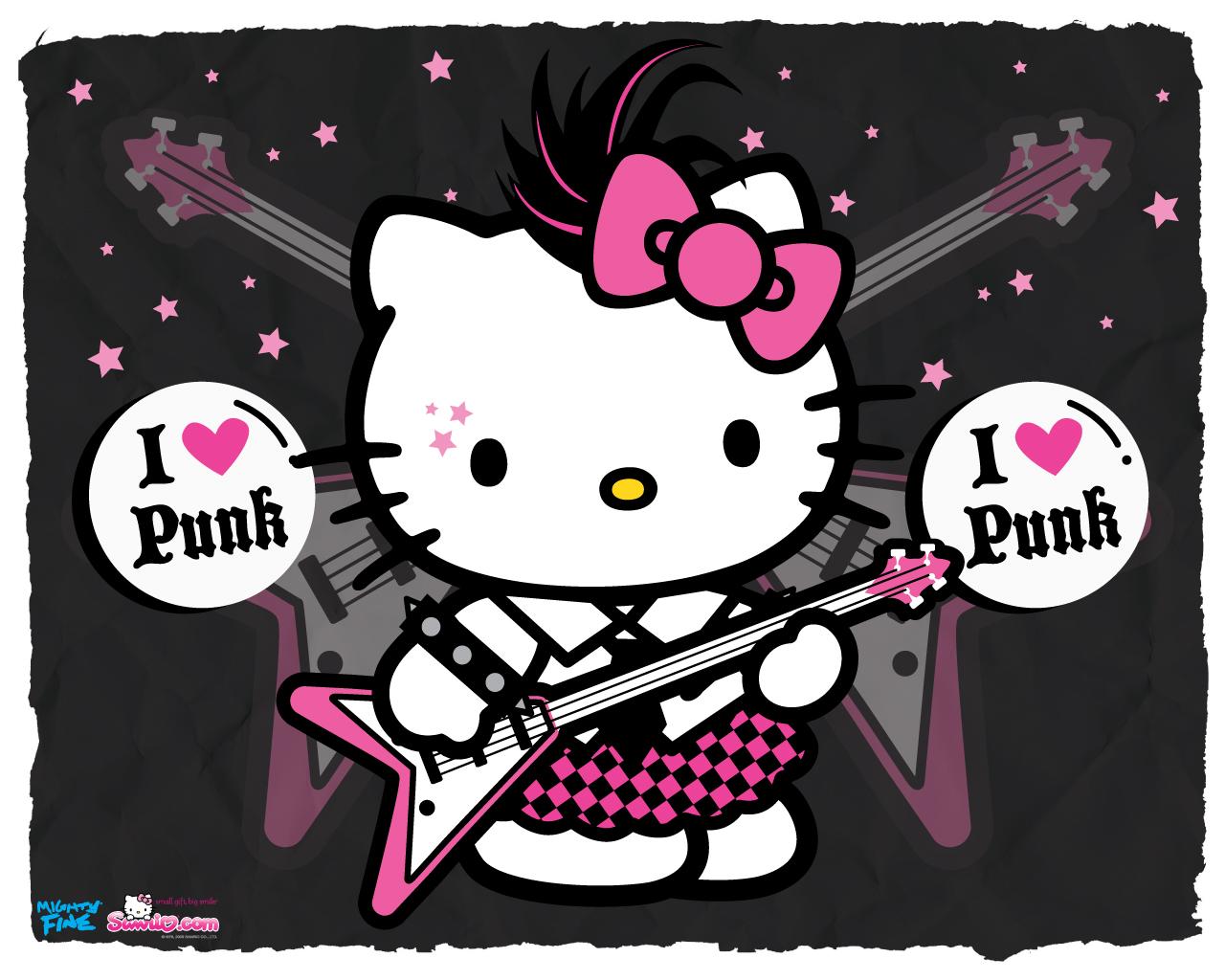 Hello Kitty Pink And Grey Punkish Wallpaper 1280x1024