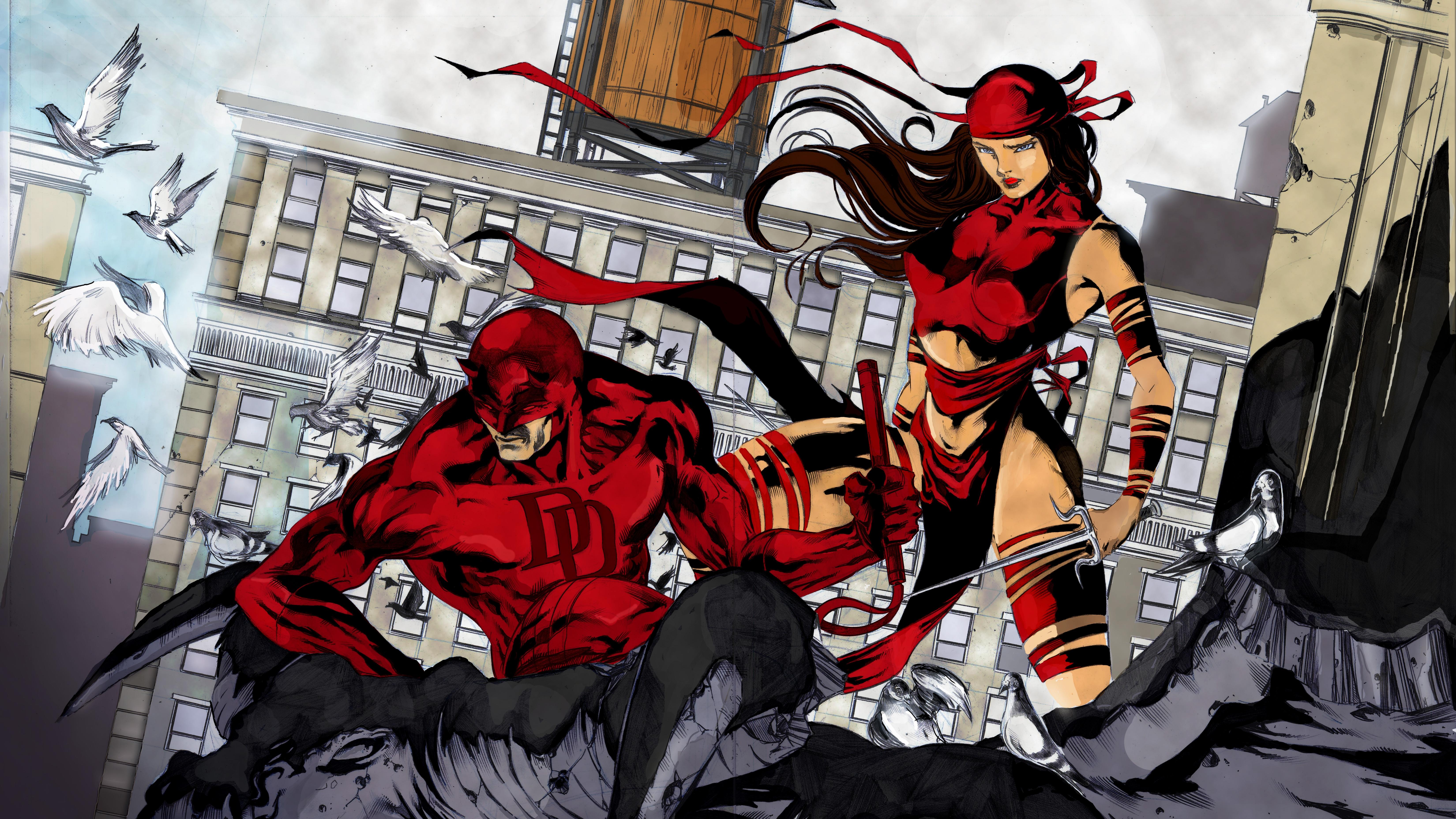 Comics Daredevil Matt Murdock Elektra HD Wallpaper Background 6600x3712