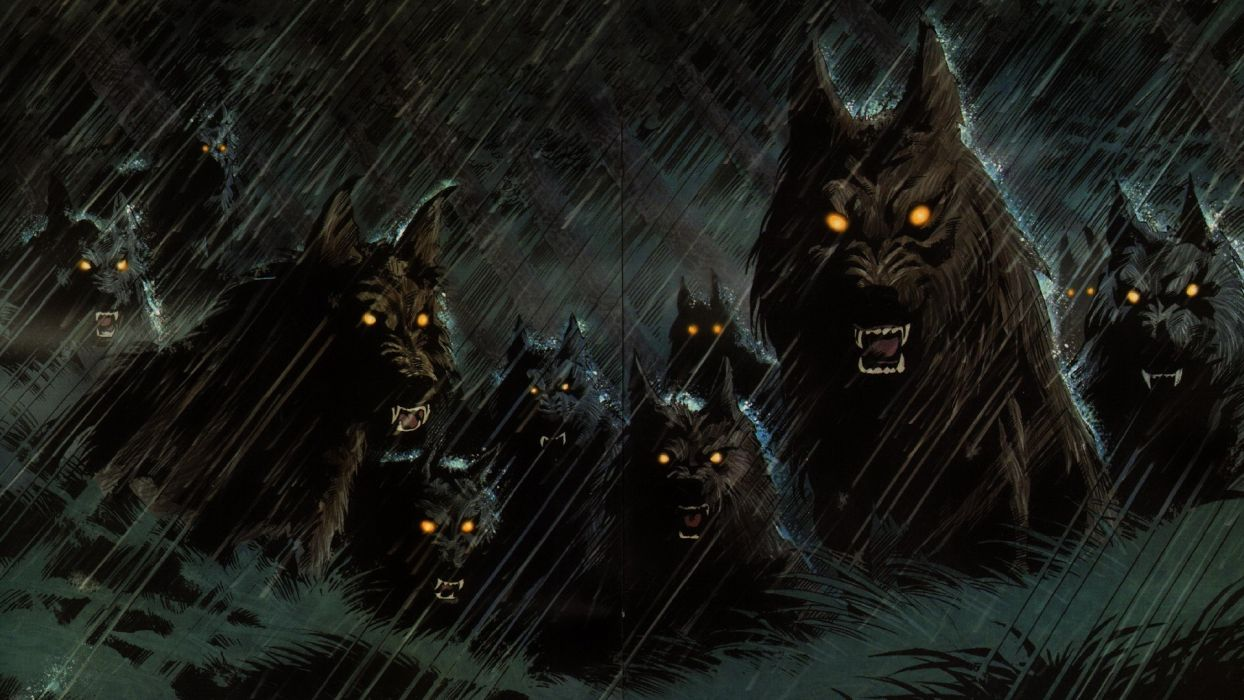 Dark werewolf hellhound animals wolf wolves fangs demons evil 1244x700