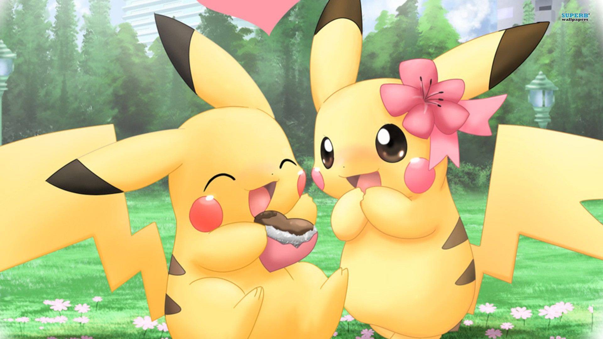 Pikachu Pokemon Cute Couples HD Wallpaper of Cartoon   hdwallpaper2013 1920x1080