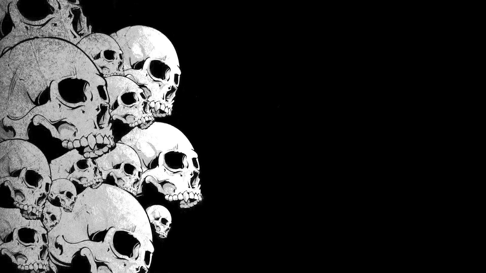 Black and white skulls wallpaper wallpapersafari - Black and wait ...