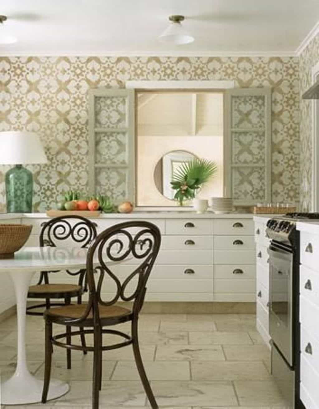 Chic Kitchen Designed With White Cabinets And Patterened Kitchen 1024x1310