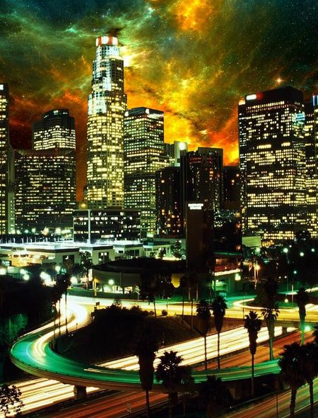 Los Angeles Skyline Wallpaper for Amazon Kindle Fire 450x590