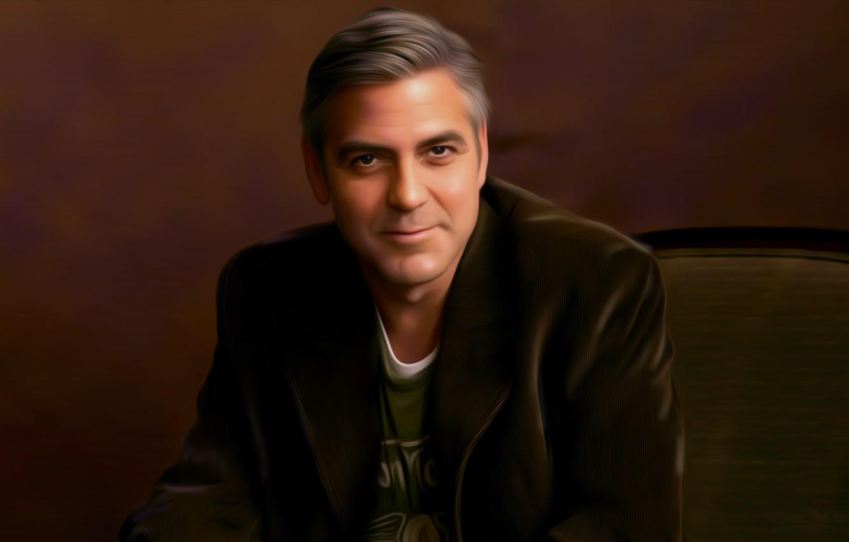 Wallpaper smile art chair male jacket artist George Clooney 1332x850