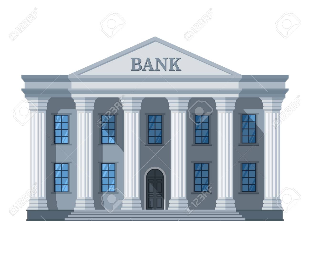 Cartoon Retro Bank Building Or Courthouse With Columns Vector 1300x1063