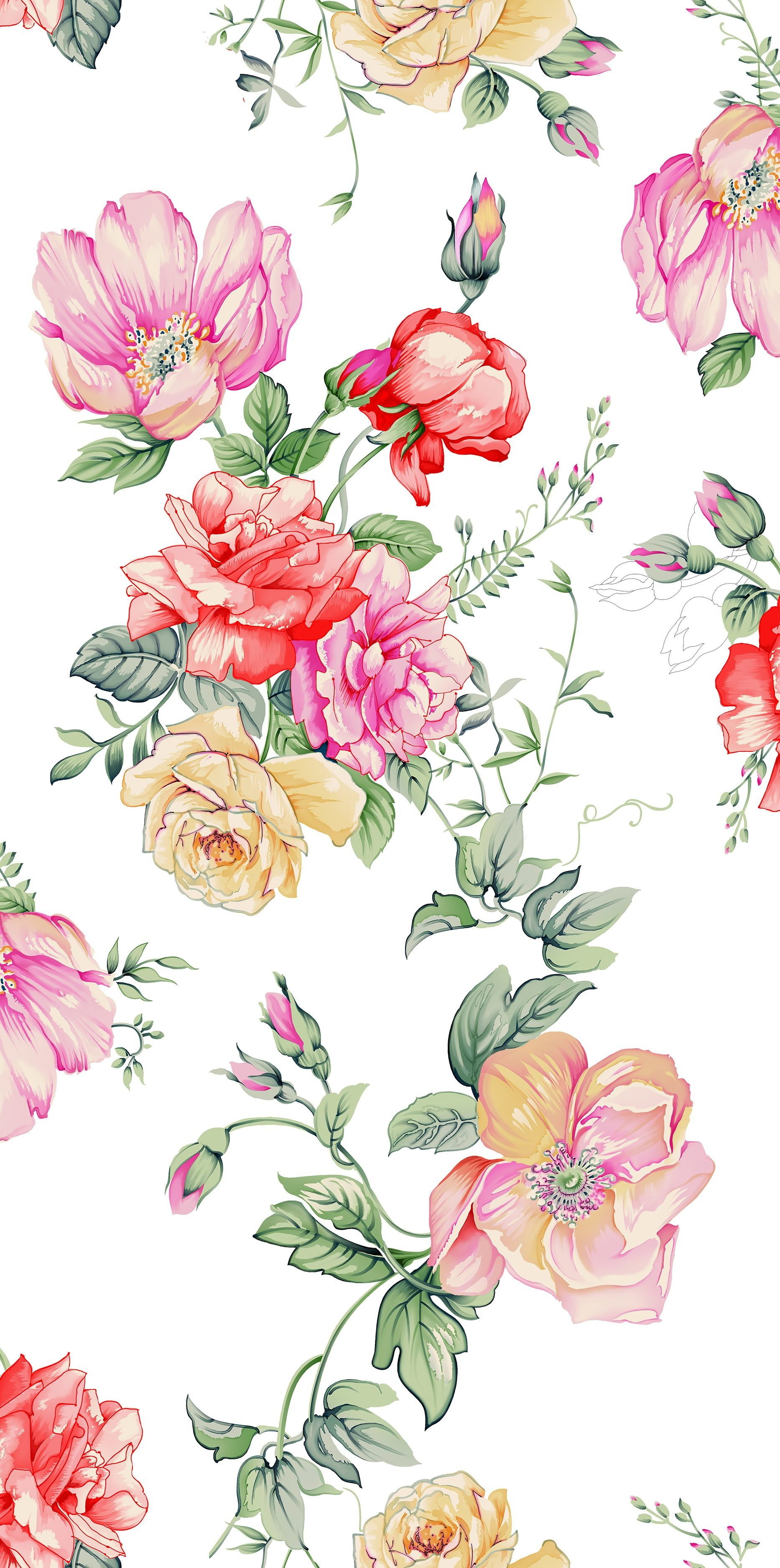 68 Watercolor Flowers Wallpapers on WallpaperPlay 1866x3750