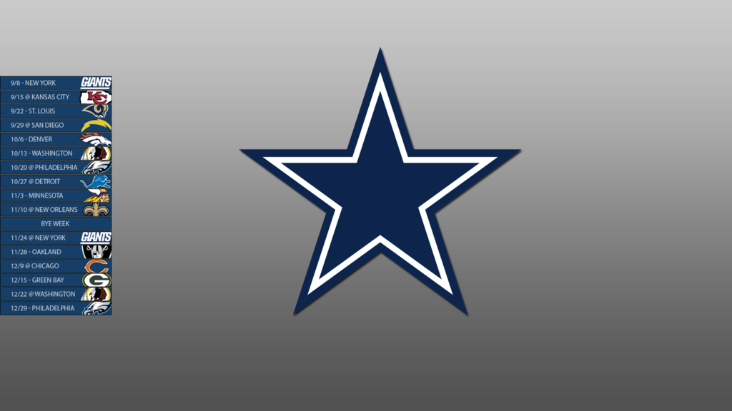 Dallas Cowboys 2013 Schedule Wallpaper by SevenwithaT 1024x576