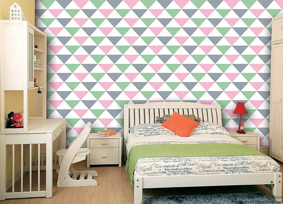 Removable Peel and Stick Fabric Wallpaper  Seamless Triangle Wallpaper 570x412