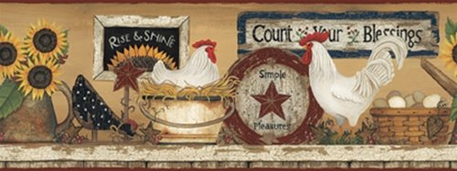 Hearts Crafts 3 HEN AND ROOSTER Wallpaper Border CB5539BD 500x187
