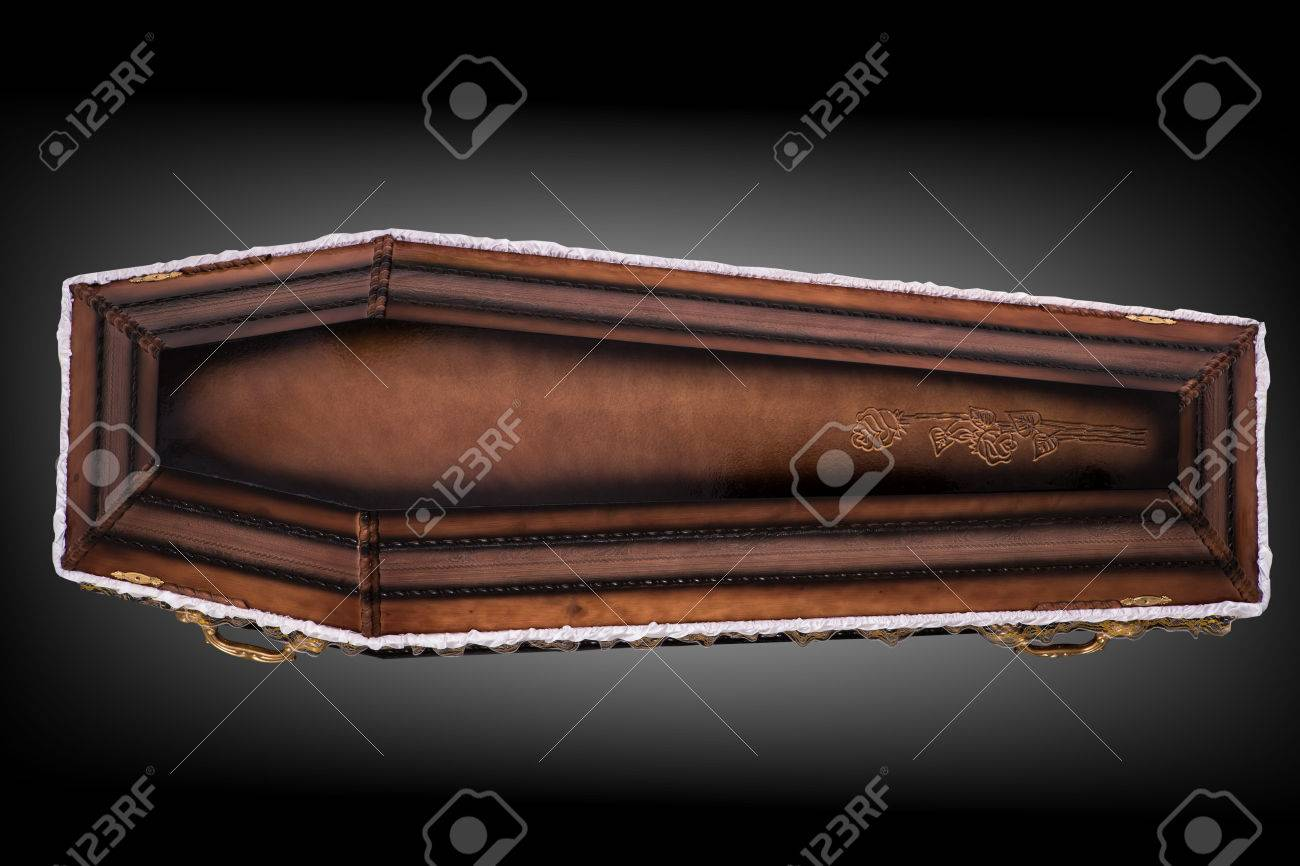 Closed Wooden Brown Coffin Covered With Cloth Isolated On Gray 1300x866