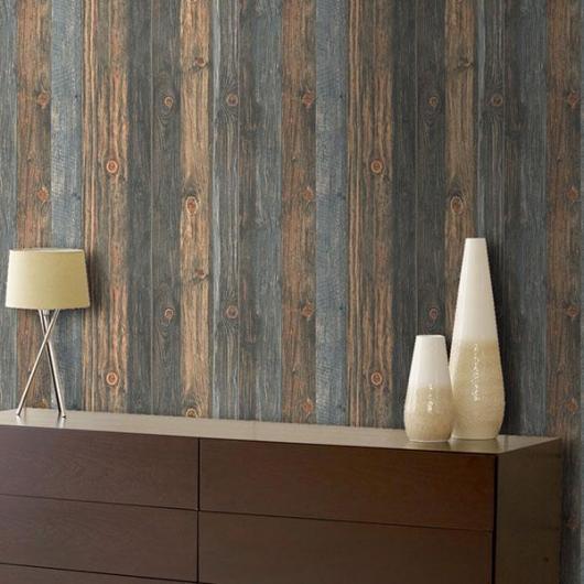 Scrapwood Wallpaper Reclaimed Wood Wallpaper Charcoal Blue Brown Tones 530x530