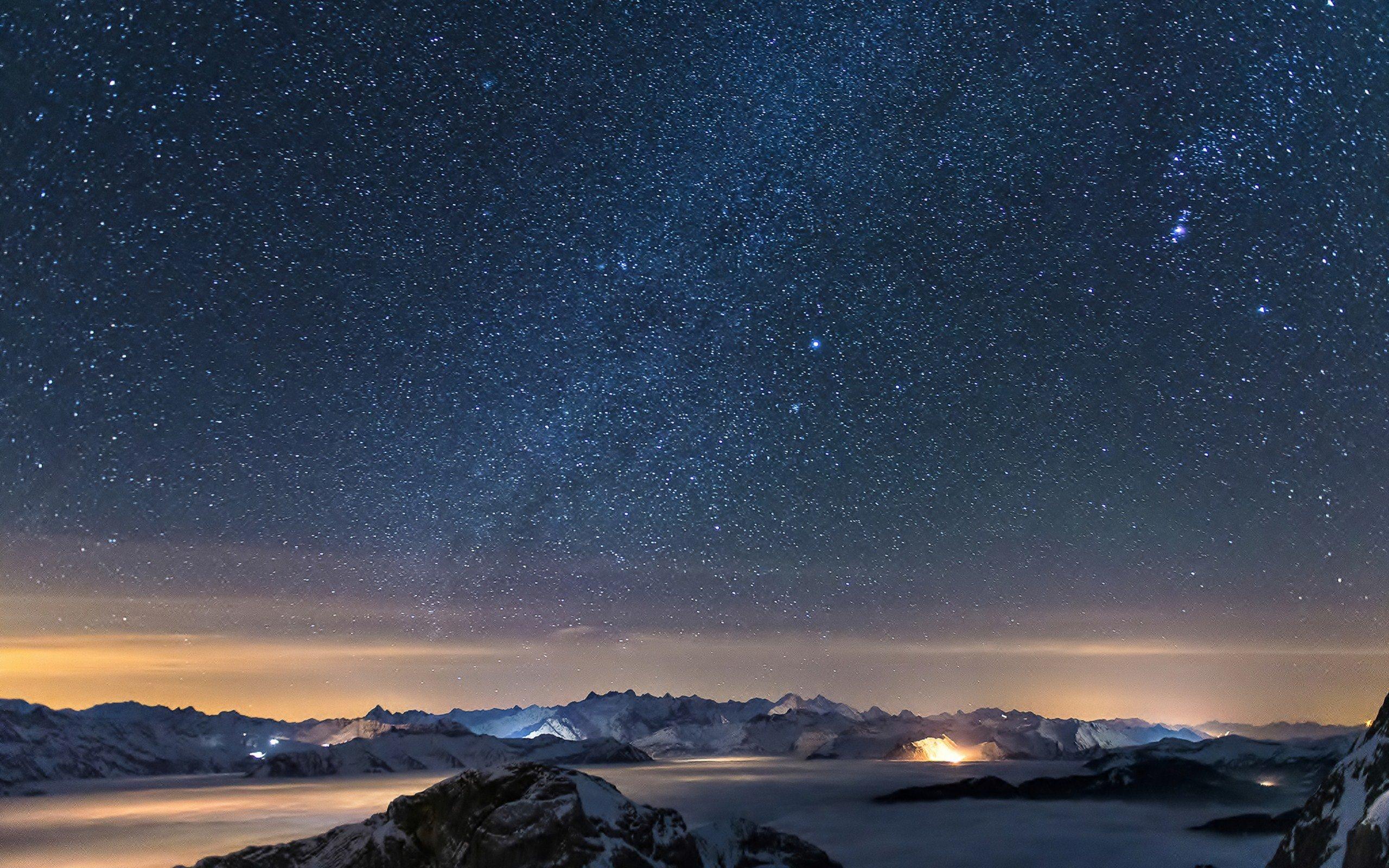 night landscape fog stars ultrahd 4k wallpaper wallpaper background 2560x1600