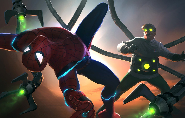 Wallpaper Peter Parker Doctor Octopus Spider Man Fight Otto 1332x850