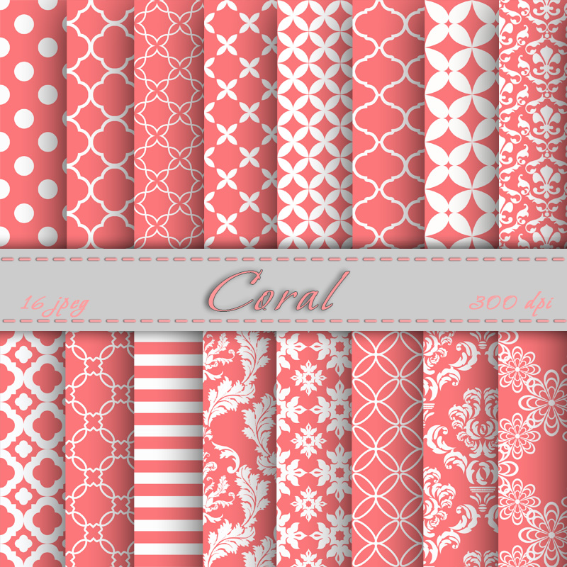 Coral Digital Paper Scrapbooking Papers Patterns Digital Backgrounds 800x800