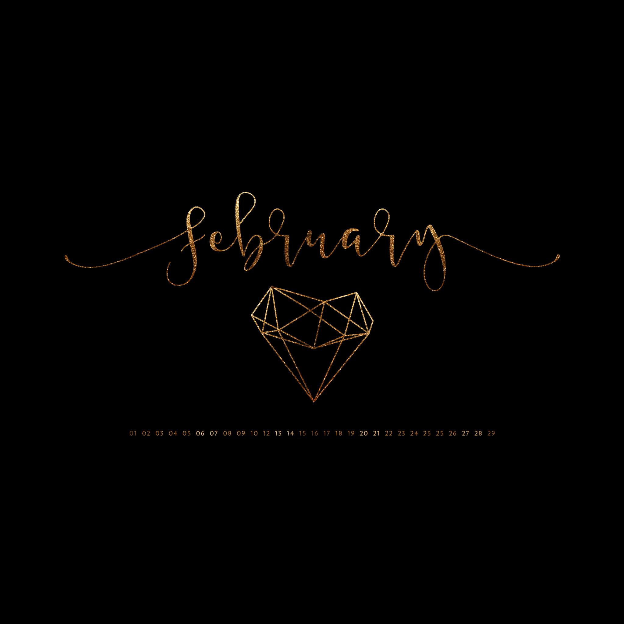 February 2016 Desktop Calendar Wallpaper Paper Leaf 2048x2048