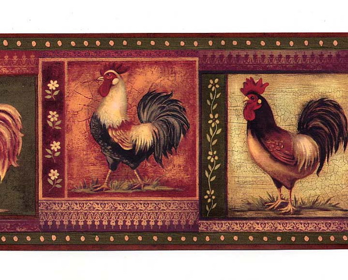 Burgundy Gypsy Roosters Wallpaper Border 719x578