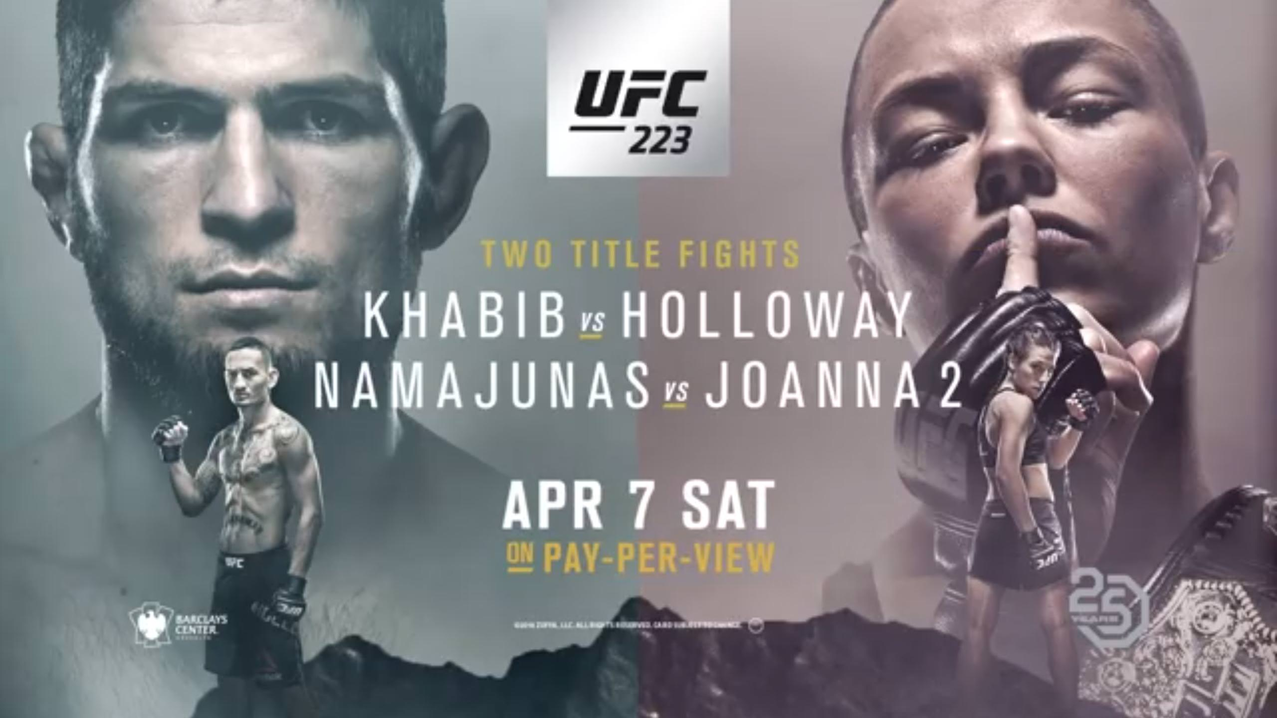 UFC 223 Khabib vs Holloway poster MMA 2560x1440